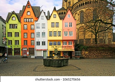 Cologne, North Rhine-Westphalia, Germany - March, 10 2018:  colored houses in Fish Market Square, old city of Cologne, Germany