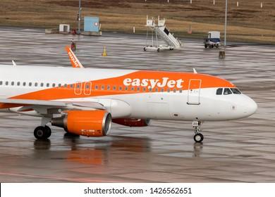 cologne, North Rhine-Westphalia/germany - 08 03 19: easyjet airplane at cologne bonn airport germany