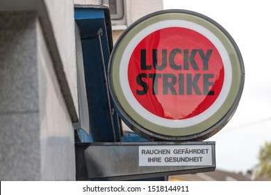cologne, North Rhine-Westphalia/germany - 09 09 19: lucky strike sign in cologne germany