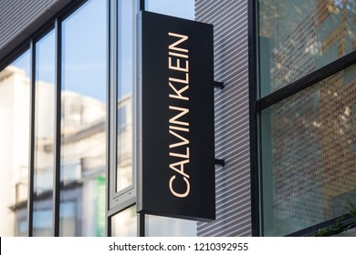 cologne, North Rhine-Westphalia/germany - 17 10 18: calvin klein sign on an building in cologne germany