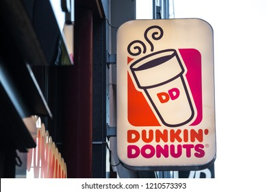 cologne, North Rhine-Westphalia/germany - 17 10 18: dunkin donuts sign in cologne germany