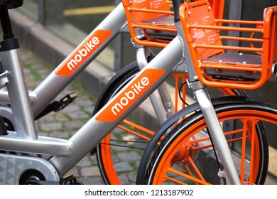 cologne, North Rhine-Westphalia/germany - 17 10 18: mobike rent bicycle sign in cologne germany