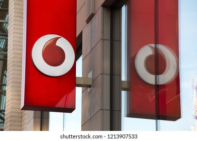 cologne, North Rhine-Westphalia/germany - 17 10 18: vodafone sign on an building in cologne germany