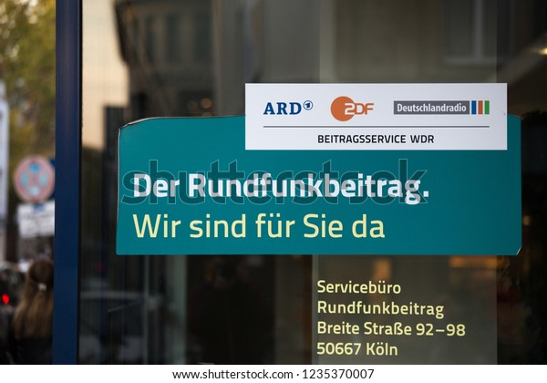cologne, North Rhine-Westphalia/germany - 17 10 18: german tv fees rundfunkbeitrag sign in cologne germany