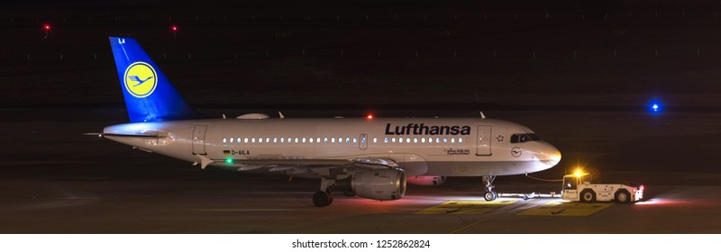 cologne, North Rhine-Westphalia/germany - 26 11 18: lufthansa aiplane at airport cologne bonn germany at night
