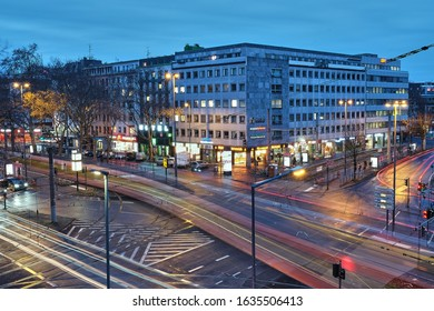 Cologne, NRW, Germany - December 6, 2019: Barbarossaplatz at night and sunrise, it is one of the largest traffic hubs in the metropolis.