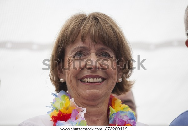 """Cologne, NRW, Germany- July 9,2017: Henriette Reker, mayor of Cologne opening CSD Parade in Cologne. This year's parade was themed 'Never Again"""". CSD  is one of the of the biggest in Europe."""