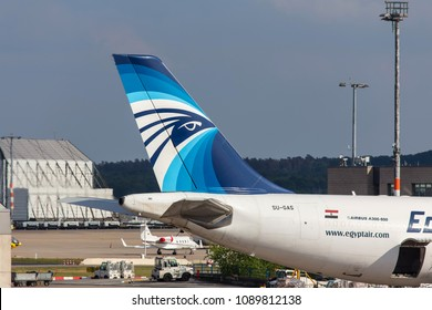 cologne, nrw/germany - 11 05 18: egyptair cargo airplane at cologne bonn airport germany