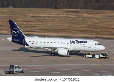 cologne, nrw/germany - 14 03 18: lufthansa airplane on ground at cologne bonn airport germany