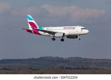 cologne, nrw/germany - 14 03 18: eurowings airplane landing at cologne bonn airport germany