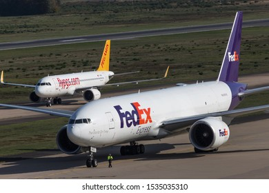 cologne, nrw/germany - 14 10 19: fedex cargo airplane at cologne bonn airport germany