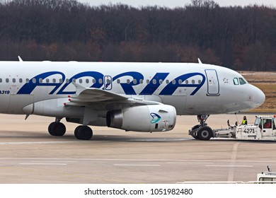 cologne, nrw/germany - 17 03 18: adria airways airplane at cologne bonn airport germany
