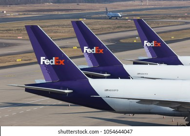 cologne, nrw/germany - 24 03 18: fed ex cargo airplanes on ground at cologne bonn airport germany
