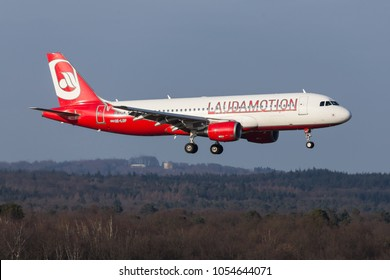 cologne, nrw/germany - 24 03 18: lauda motion airplane landing at cologne bonn airport germany