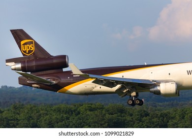 cologne, nrw/germany - 25 05 18: ups cargo airplane landing at cologne bonn airport germany