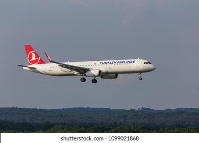 cologne, nrw/germany - 25 05 18: turkish airlines airplane landing at cologne bonn airport germany