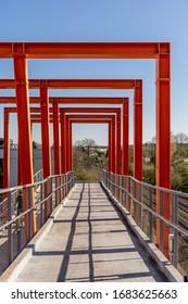 Cologne, NRW/Germany - March 26, 2020, Crosswalk Militärring - Orange Bridge
