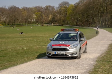 Cologne, NRW/Germany - March 27, 2020, Regulatory agency, Ordnungsamt patrolling in Beethoven Park in South Cologne