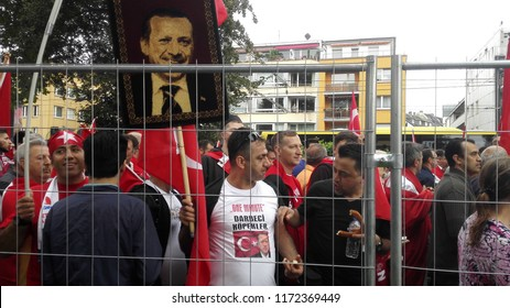 COLOGNE, NW/GERMANY - 07/31/2016 - Pro Erdogan demonstration in Cologne-Deutz Germany - big rally with German Erdogan supporters from Germany.