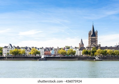 Cologne old city panorama on sunny day