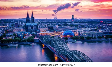 Cologne skyline during sunset ,Cologne bridge with cathedral Germany Europe