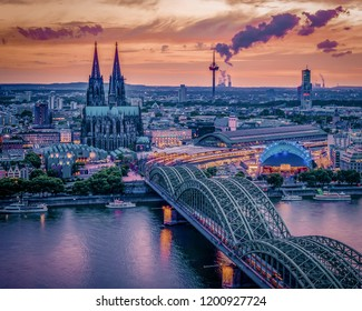 Cologne skyline during sunset ,Cologne bridge with cathedral Germany Europe from above the city