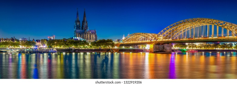 Cologne Skyline Panorama at the blue hour
