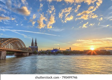 Cologne sunset city skyline with Cologne Cathedral and Rhine River, Cologne, Germany