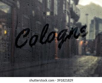 Cologne written on a foggy window