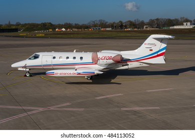 COLOGNE-BONN, GERMANY - SPRING 2016 Air Alliance Gates Learjet 35 D-CFOR, formerly operated by Air Med UK Ltd as G-ZMED, still in their livery, on the ramp at CGN awaiting its next ambulance mission.