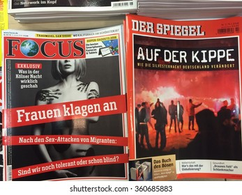 Cologne,Germany- January 11,2016: Popular german magazines on display in a store in Cologne,Germany