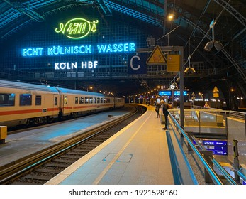 Cologne,NRW,Germany - 02.20.2021 : Cologne central Station by night. On top side the historic roof construction.