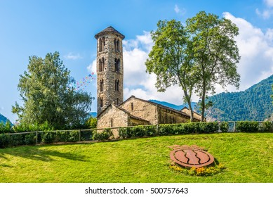 COLOMA,ANDORRA - AUGUST 29,2016 -View at the Santa Coloma church in Andorra . Andorra is the capital of the Principality of Andorra, and is located high in the east Pyrenees .