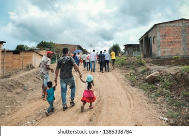 Cúcuta, Colombia. 24 of April, 2019.   In the outskirts of the city of cúcuta neighborhoods of invasion have been formed where Venezuelans live who fled their country and Colombians displaced by viole