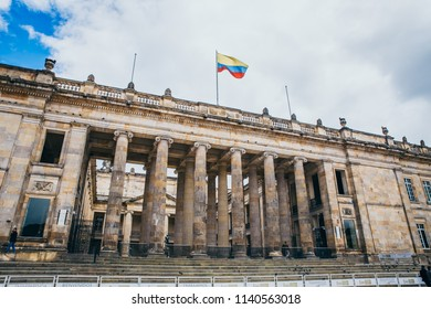 COLOMBIA - APRIL 26: Colombian national capitol and congress at the Bolivar Plaza, April 26, 2018 in Bogota, Colombia