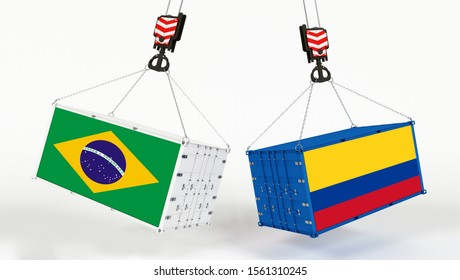Colombia and Brazil flags on opposing cargo containers. International trade theme, import and export concept between two countries.