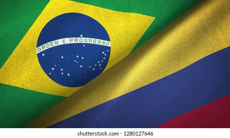 Colombia and Brazil flags together relations textile cloth fabric texture