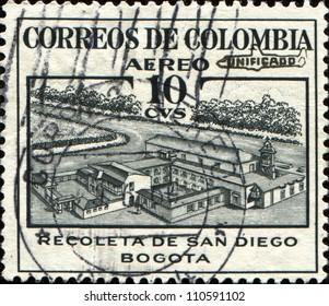 COLOMBIA - CIRCA 1945: A stamp printed in Colombia shows Recoleta de San Diego, Bogota, circa 1945