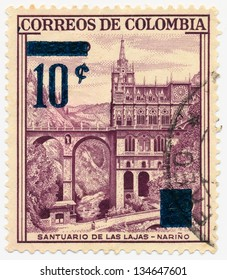 COLOMBIA - CIRCA 1954: A stamp printed in Colombia, shows Las Lajas Shrine Narino, circa 1954