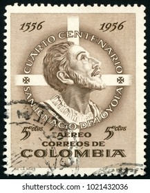 COLOMBIA - CIRCA 1956: post stamp printed in Colombia shows Spanish Basque priest saint Ignatius of Loyola; 400th death anniversary; Scott C287 A281 5c brown; circa 1956