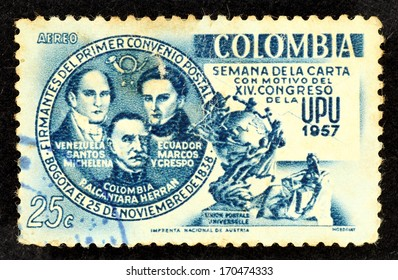 COLOMBIA - CIRCA 1957: Stamp printed in Colombia with image of three Latin America leader, Santos Michelena, Alcantara Herran and Marcos Crespo to commemorate the Postal Convention in Bogota.