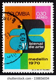 COLOMBIA - CIRCA 1970: a stamp printed in the Colombia shows Art Exhibition Emblem, 2nd Biennial Art Exhibition, Medellin, circa 1970