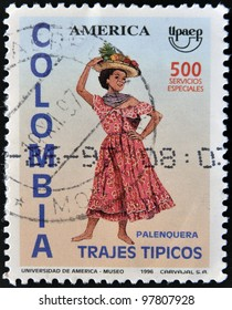 COLOMBIA - CIRCA 1996: A stamp printed in Colombia dedicated to traditional dress, shows palenquera, circa 1996