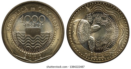 Colombia Colombian bimetallic coin 1000 one thousand pesos 2012, ornament below denomination within inner circle, tortoise on radiant background,