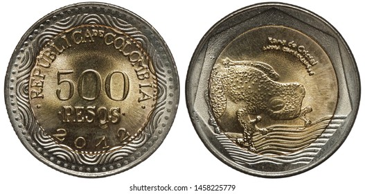 Colombia Colombian bimetallic coin 500 five hundred pesos 2012, denomination and date within inner circle, frog right,