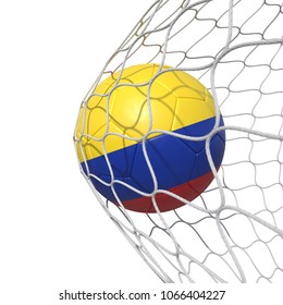Colombia Colombian flag soccer ball inside the net, in a net. Isolated on white background. 3D Rendering, Illustration.