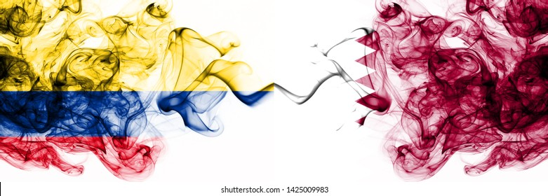 Colombia, Colombian, Qatar, Qatari, competition thick colorful smoky flags. America football group stage qualifications match games