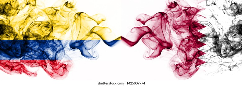 Colombia, Colombian, Qatar, Qatari, flip, competition thick colorful smoky flags. America football group stage qualifications match games