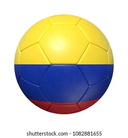 Colombia Colombian soccer ball with national flag. Isolated on white background. 3D Rendering, Illustration.