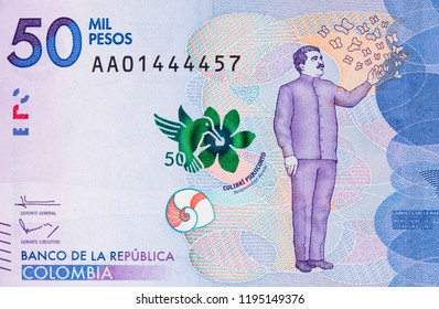 Colombia currency 50000 peso (2016) banknote closeup, Gabriel Garcia Marquez portrait, Colombian money close up.